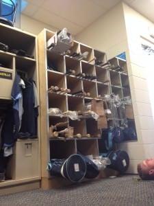 Our locker room bat rack in the catchers room
