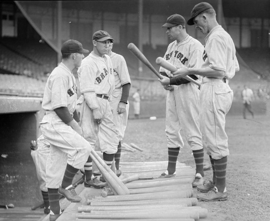 Mel Ott (left) and other New York Giants talk Slugger with Boston Braves, 1933. Courtesy of the Boston Public Library, Leslie Jones Collection.