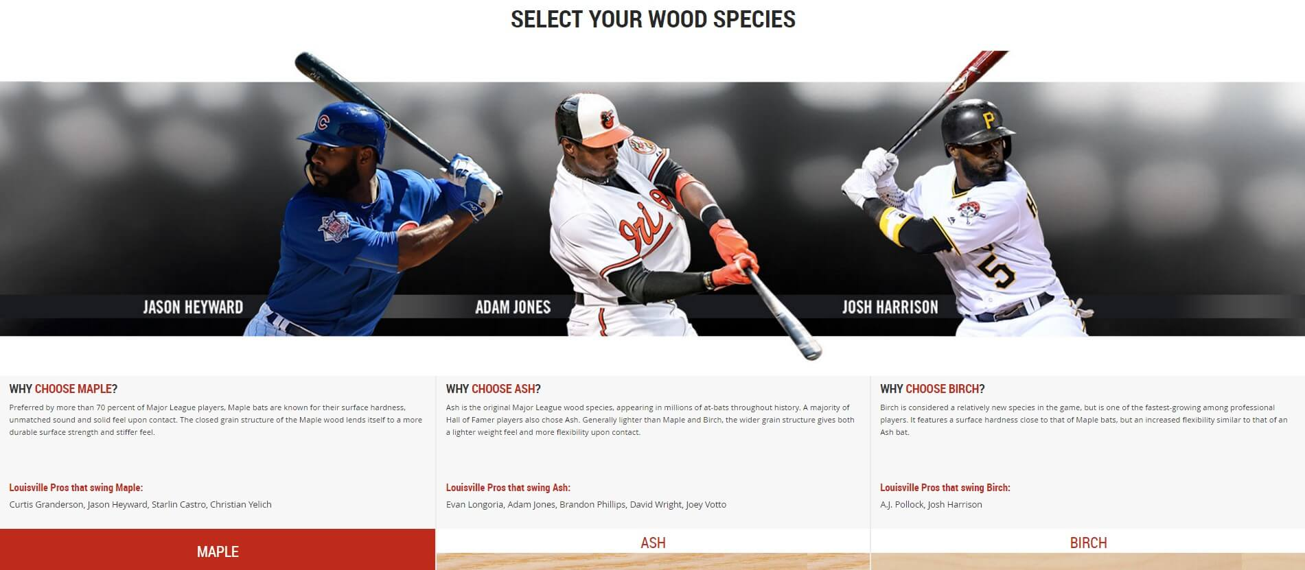 Select your wood Slugger Custom Bats