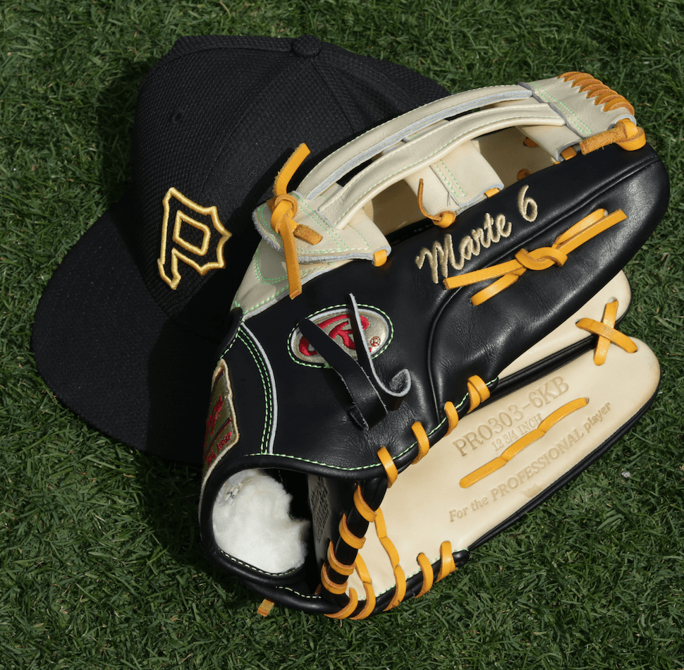 Starling Marte Rawlings Glove and Hat