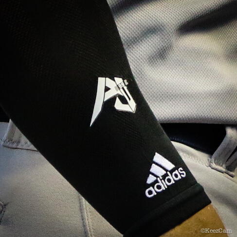 What Pros Wear Aaron Judge s Adidas Compression Arm Sleeve What Pros ... 662c95a02494