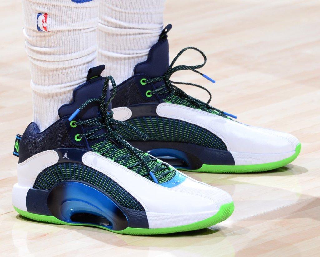 The Air Jordan 35 shoes on Luke Doncic.